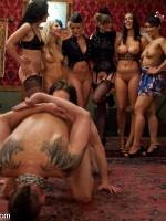 6 of the hottest and toughest dominatrixes ever demand worship and sexual service by three lucky sla...